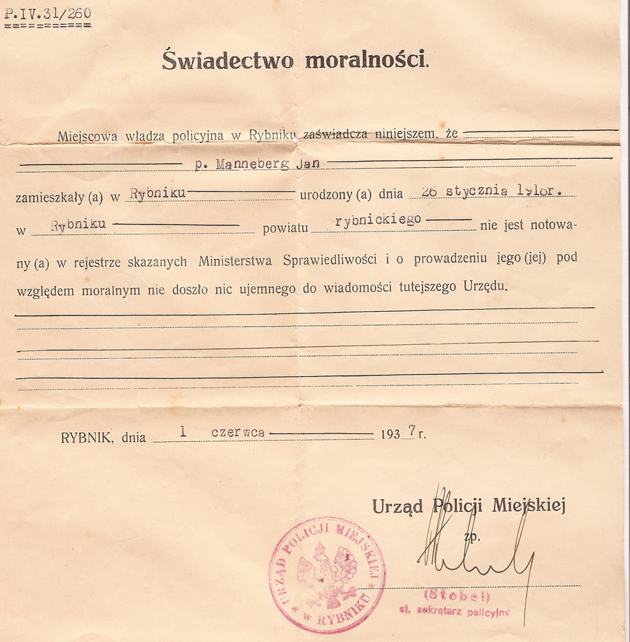 Manneberg saga manneberg family certificate of good conduct given to jan hans by the rybnik police 1937 1betcityfo Gallery